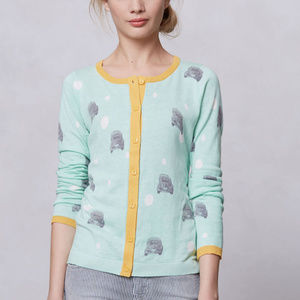 Anthro bug car cardigan novelty button up blue